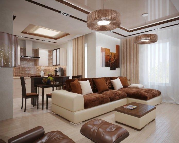 фото углового дивана в гостиной