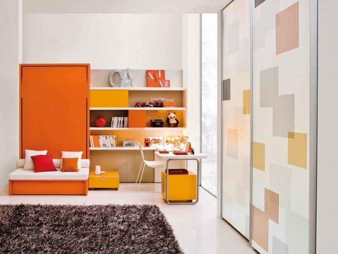 Оранжевая детская комната