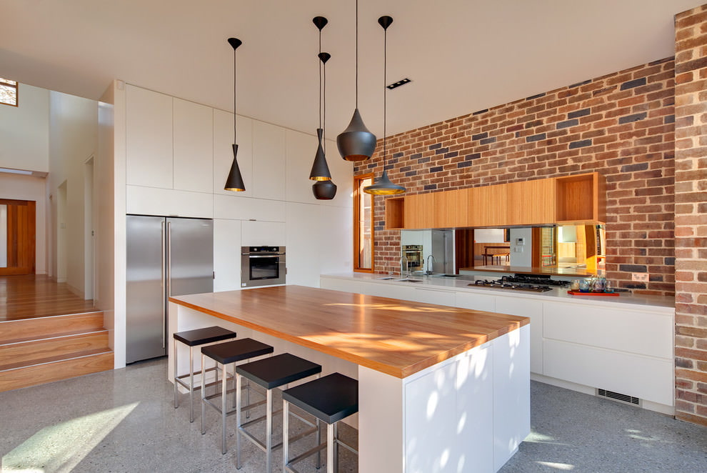 дизайн кухни из красного кирпича