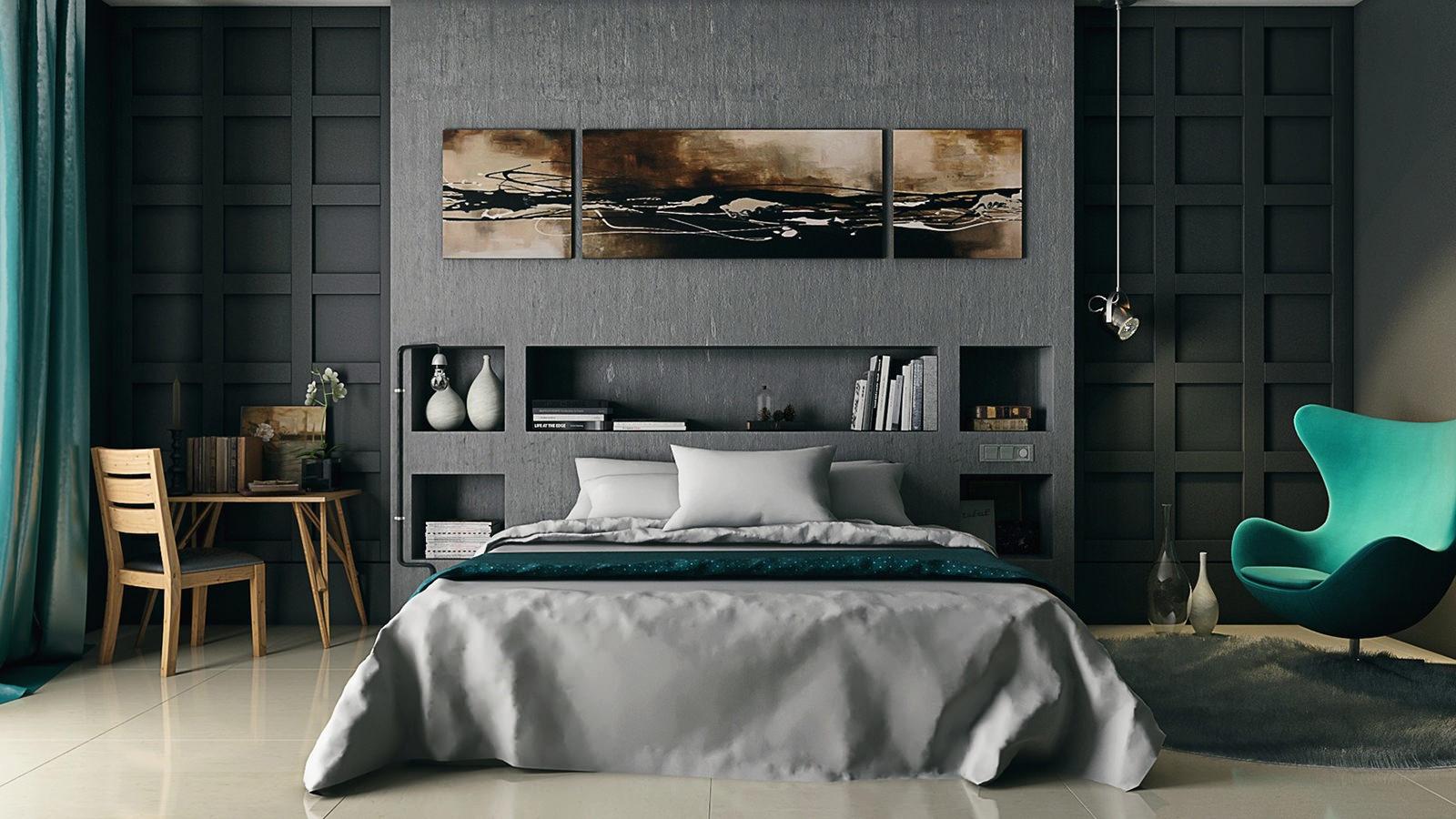 Интерьер серой спальни фото