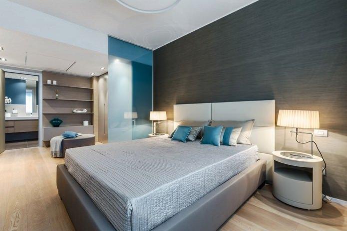 Дизайн спальни в серо-голубых тонах