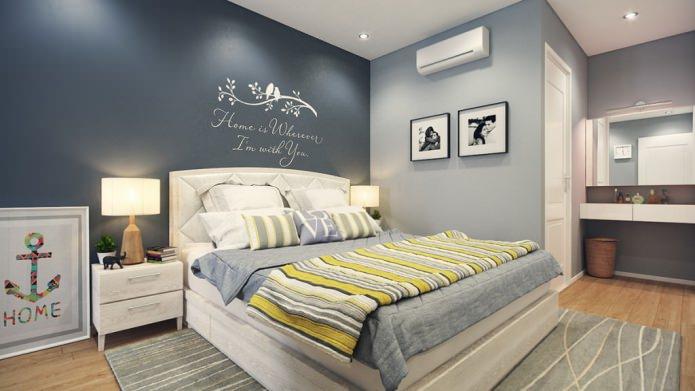 Дизайн спальни в серо-желтых тонах