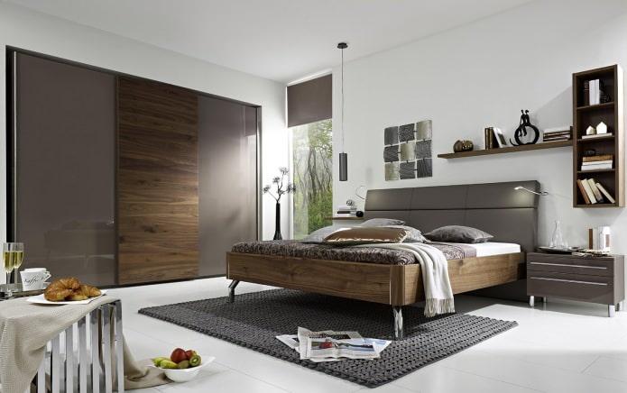 Дизайн спальни в серо-коричневых тонах