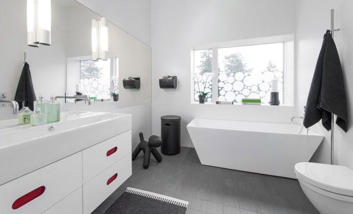 Дизайн ванной комнаты белых