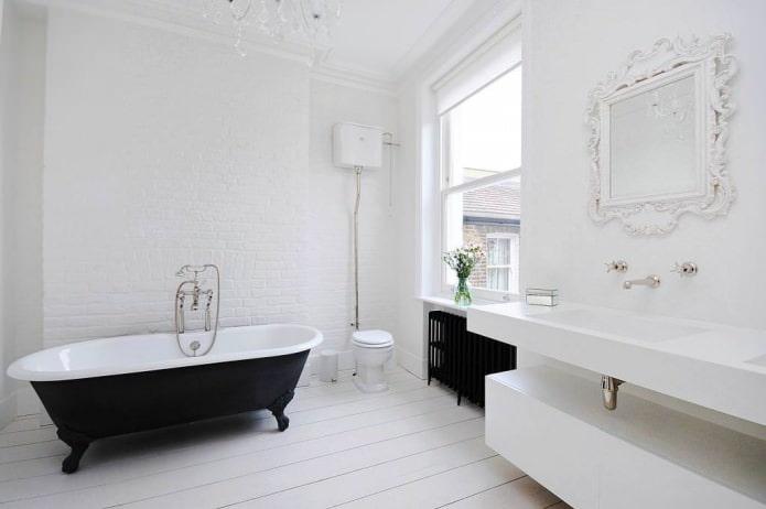 Дизайн ванной комнаты в белых тонах: особенности, фото