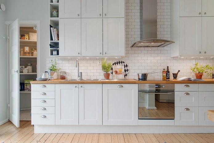 белый кирпич в интерьере кухни