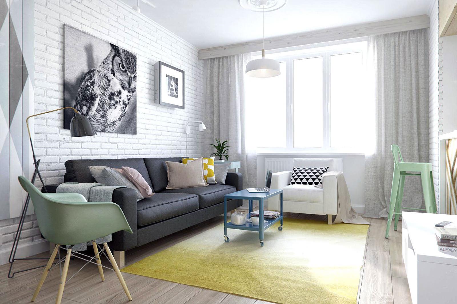 Белый кирпич в гостиной интерьеры