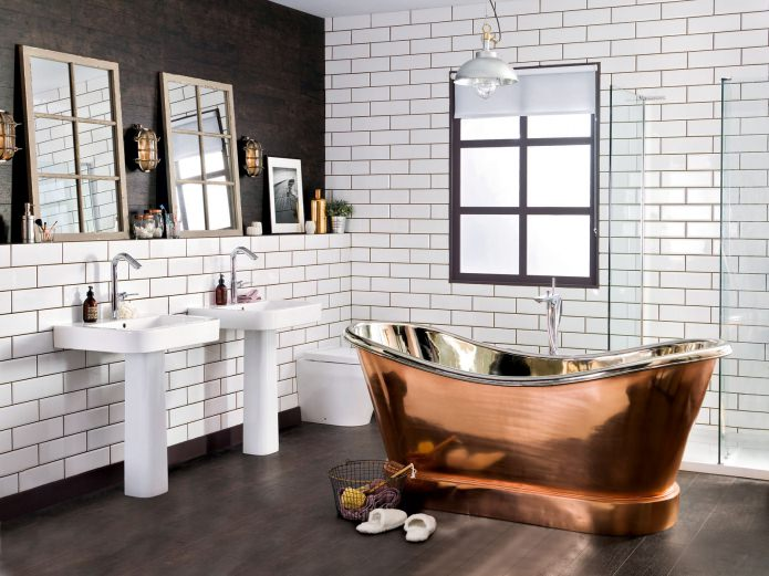 белый кирпич в интерьере ванной комнаты