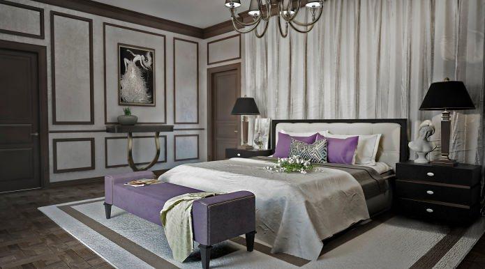 Серые стены в спальне в классическом стиле