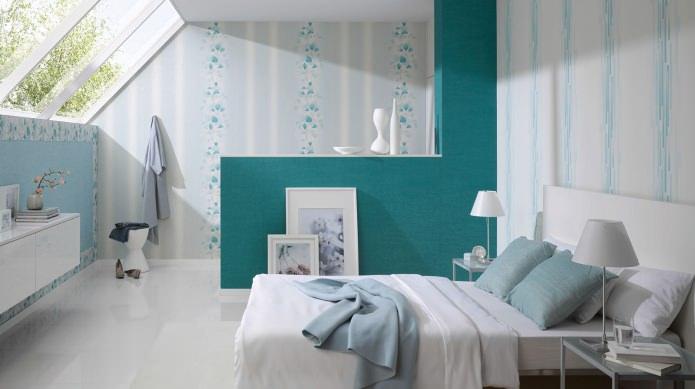 Спальня в бело-бирюзовом цвете