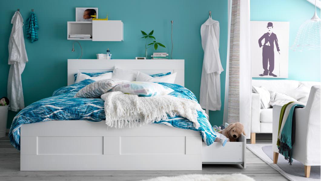 Фото дизайн спальни в бирюзовом цвете