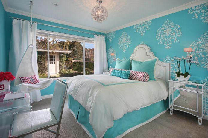 Дизайн спальни в бирюзовых тонах