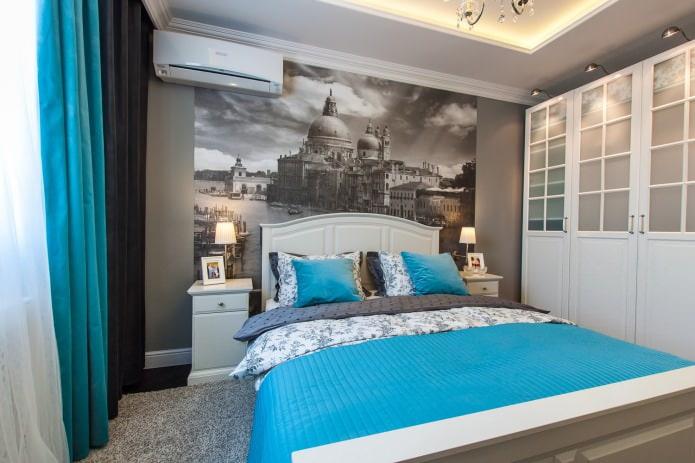 дизайн спальни в серо-бирюзовых тонах