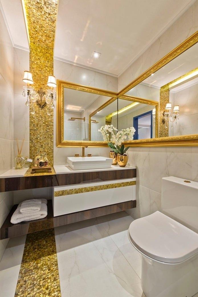 Дизайн интерьера ванной в золотом цвете