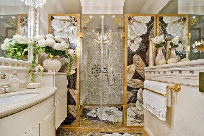 Дизайн ванной в золотом цвете