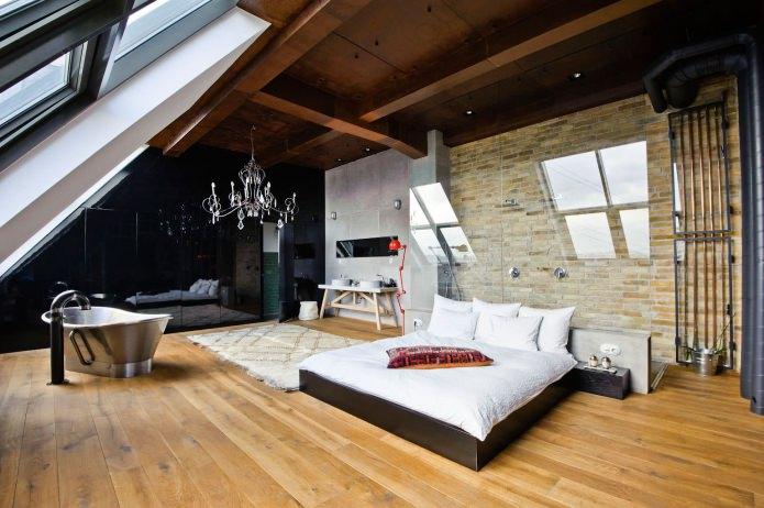 дизайн спальни в мансарде в стиле лофт