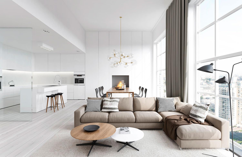кухня гостиная в белом цвете фото