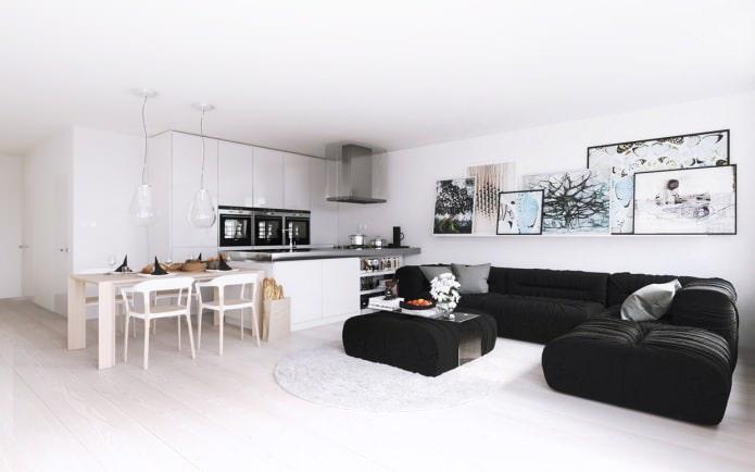 Кухня-гостиная в белом цвете