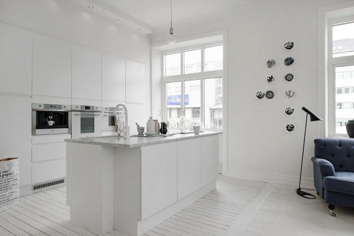 скандинавская кухня с островной планировкой