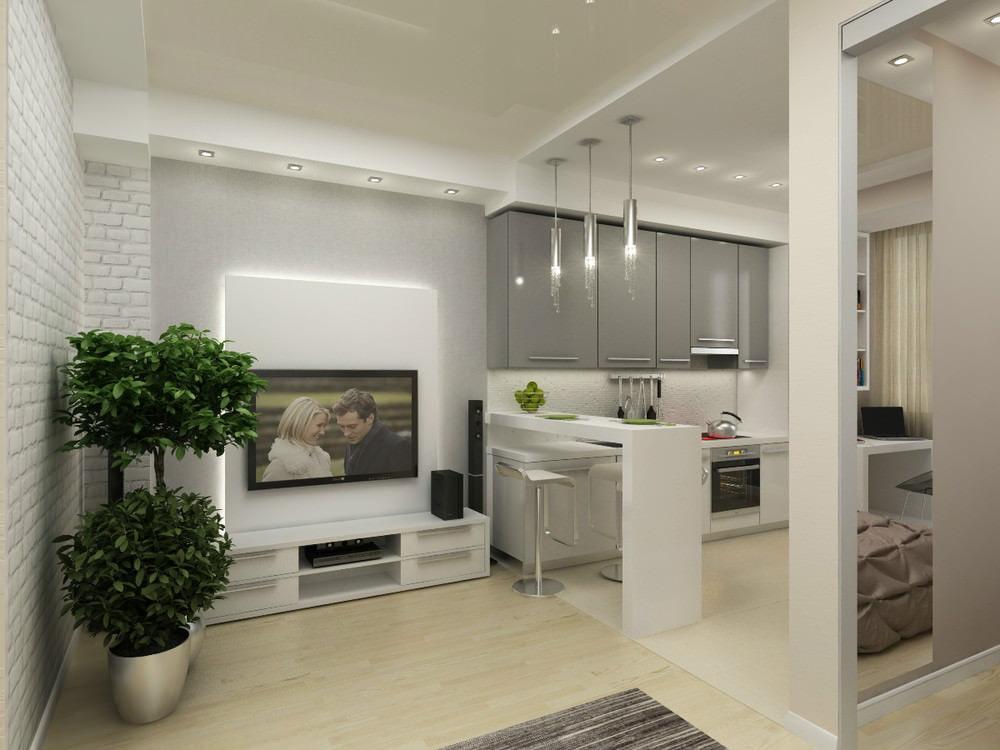 Дизайн интерьера однокомнатной квартиры 45 кв м