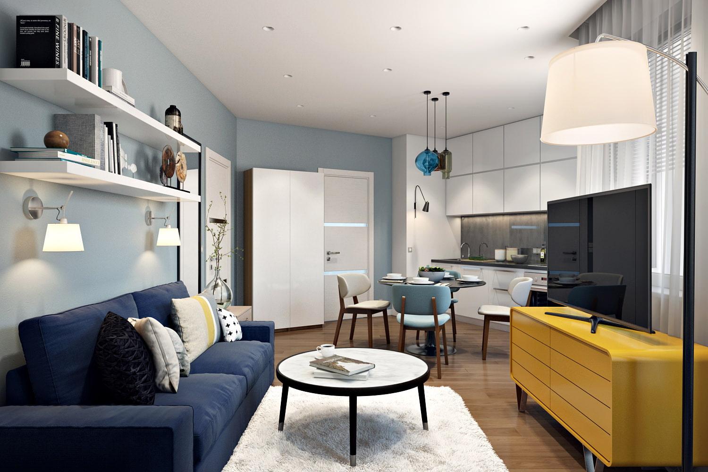 Дизайн современной небольшой квартиры 41 кв. м.
