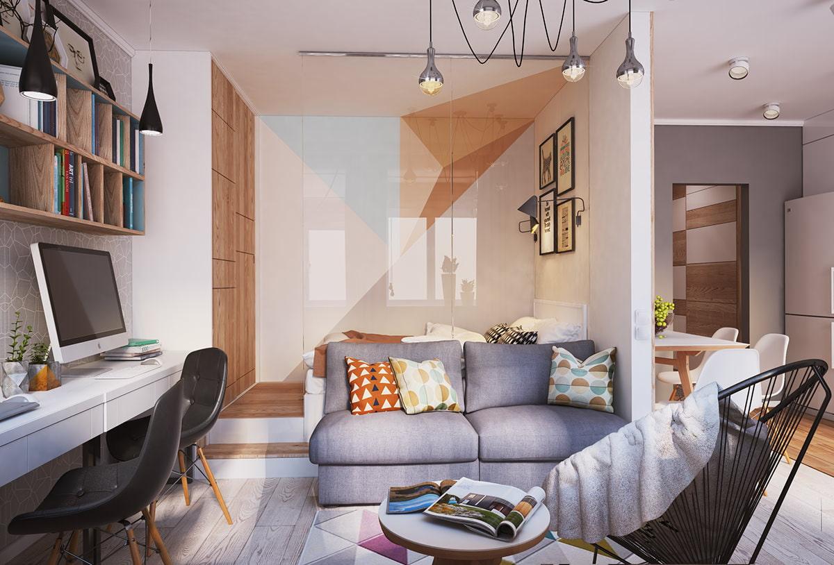 Дизайн студии квартиры 40 кв м фото интерьера