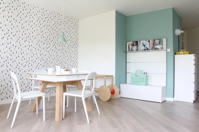 столовая в скандинавском стиле бело-мятного цвета