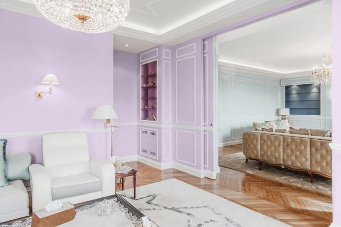 нежно-фиолетовые стены