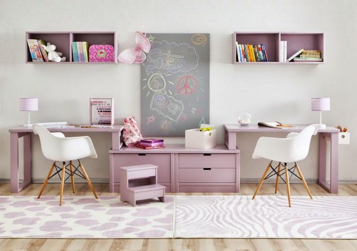Детская в фиолетовом цвете: дизайн, сочетания, фото