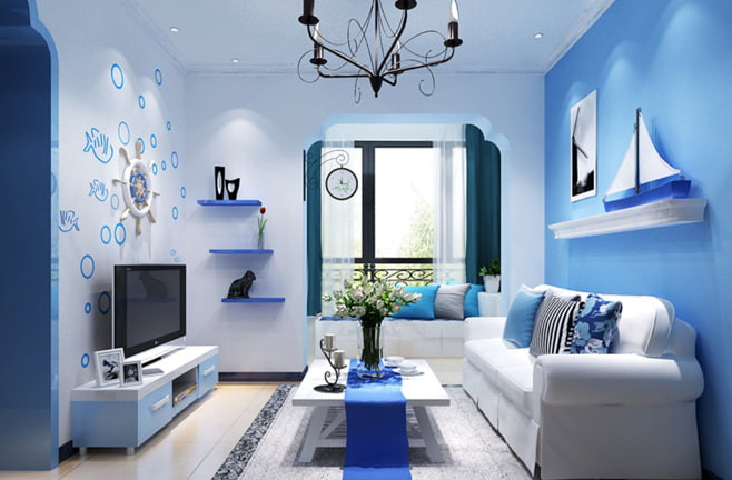 Стиль интерьера в голубых тонах