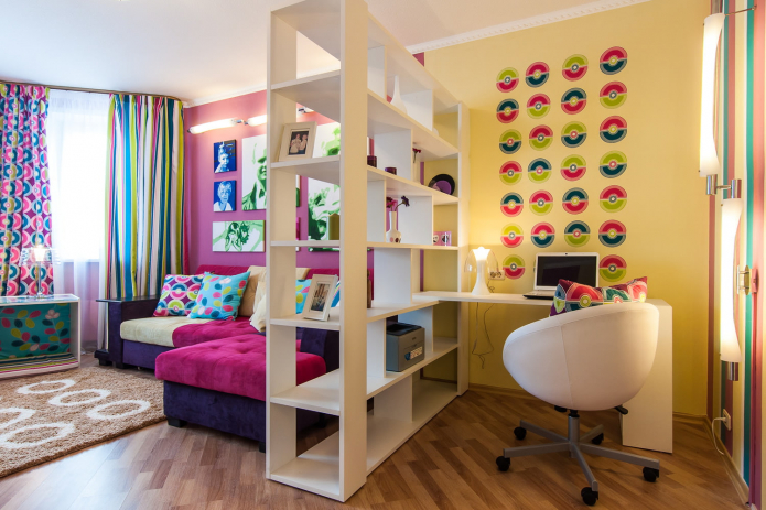 Желто-розовая гостиная