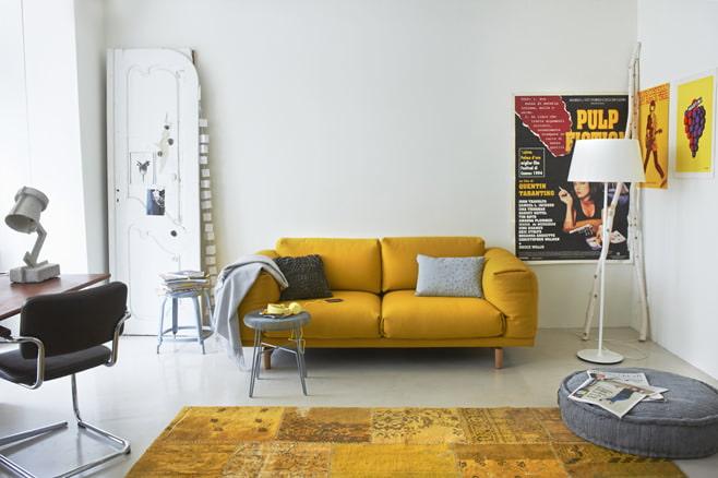 Сочные гостиные в желтом цвете