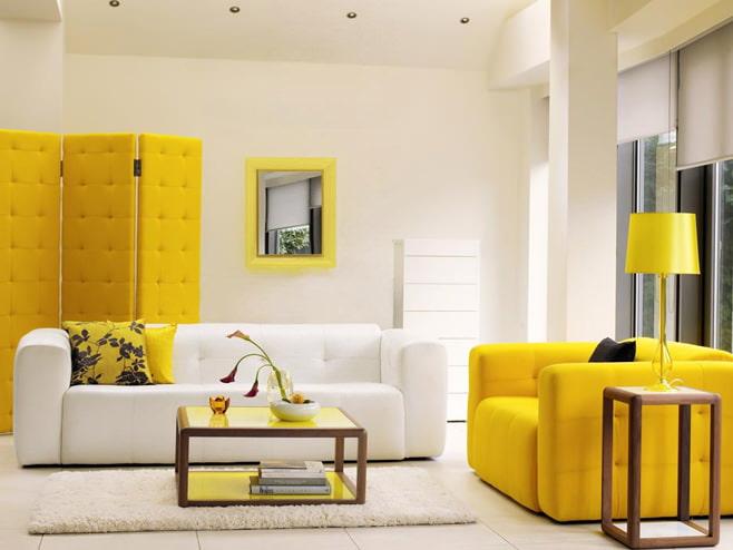 Гостиная в жёлтом цвете фото
