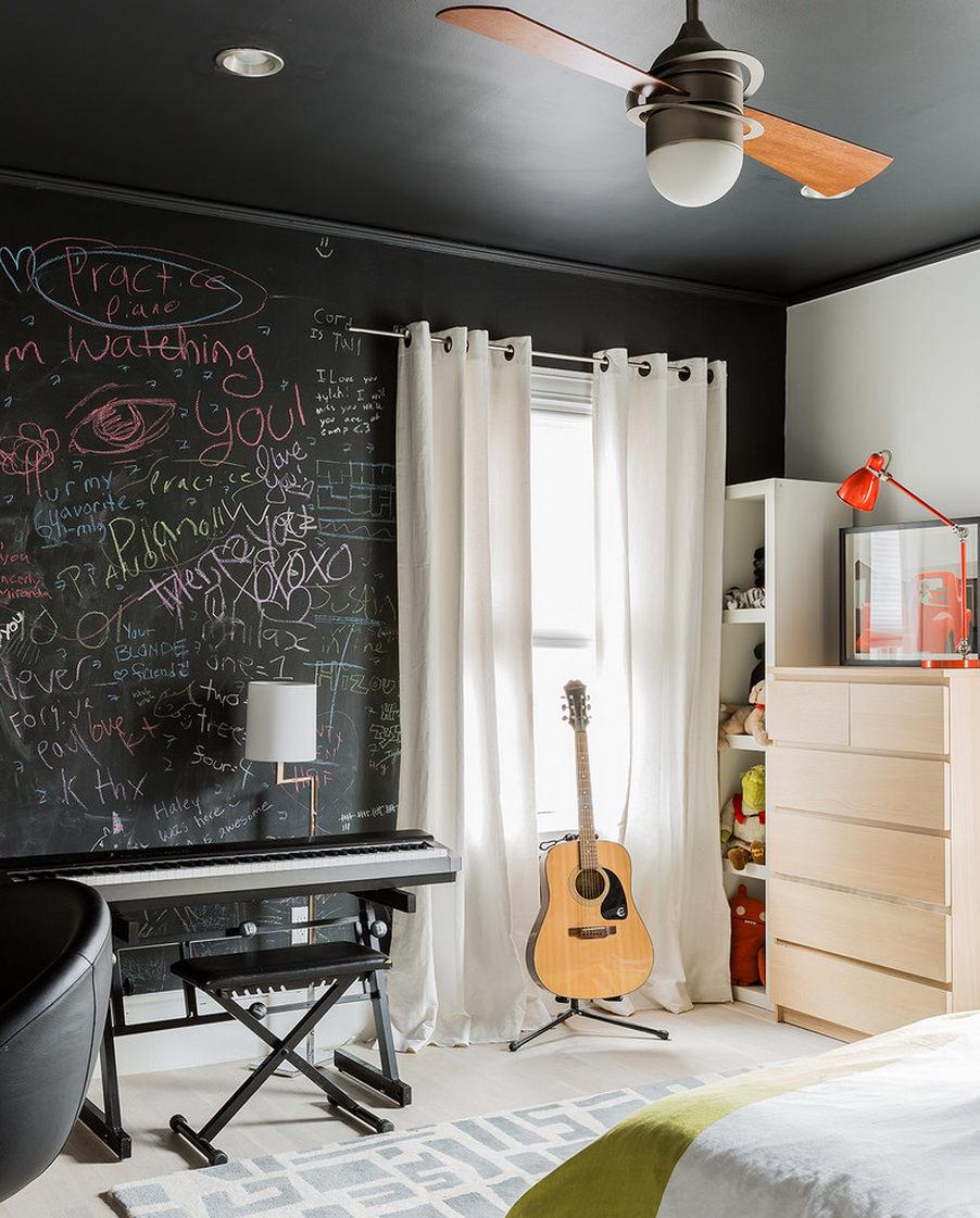 Черно белые обои в интерьере и потолки