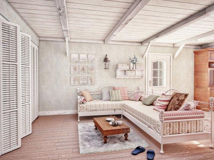 Im Dachgeschoss Balken Kann Aus Metall Oder Stahlbeton Verwendet Werden,  Wenn Es Möglich Ist, Holz Zu Verwenden, Sie In Metallic Farben Zu Malen, ...