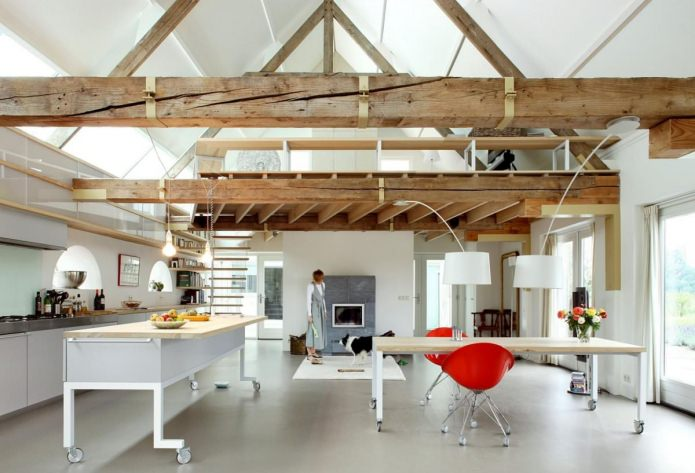 Дизайн потолка с балками