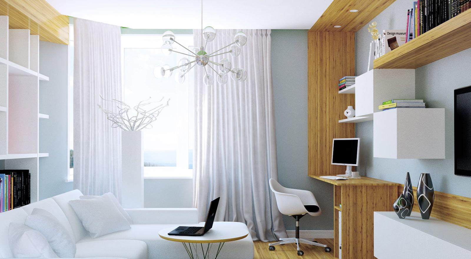 Рабочее место в гостиной дизайн