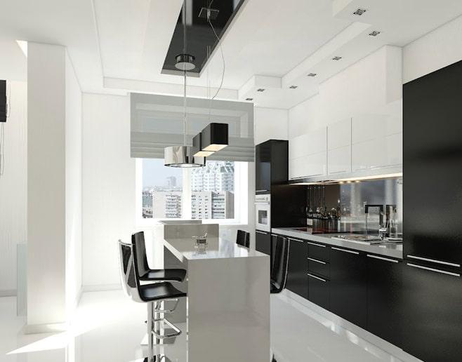 Экстравагантный дизайн черно-белых кухонь