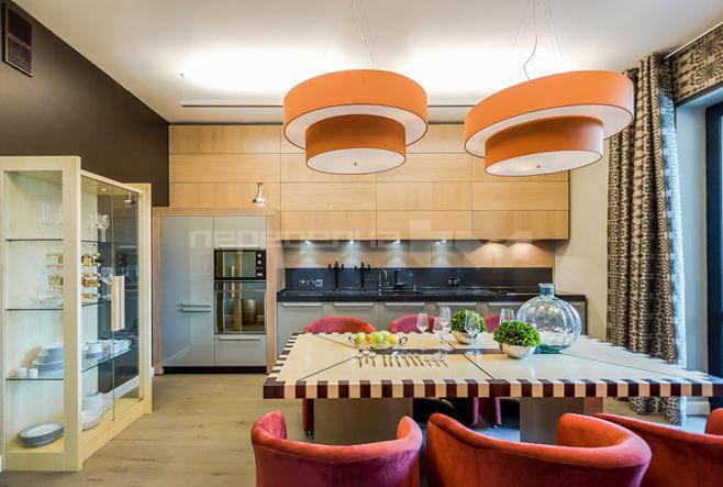 Современный дизайн интерьера кухни-столовой 20 кв