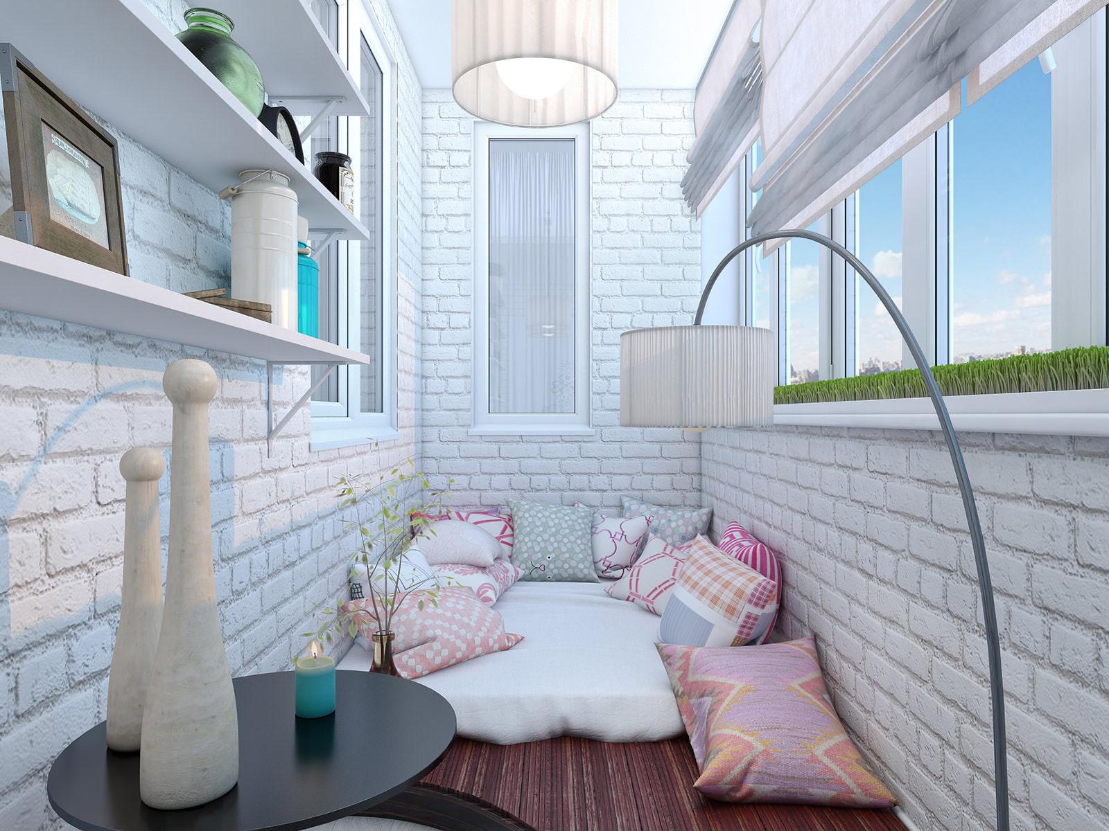 Дизайн балкона белым кирпичом. - наши работы - каталог стате.