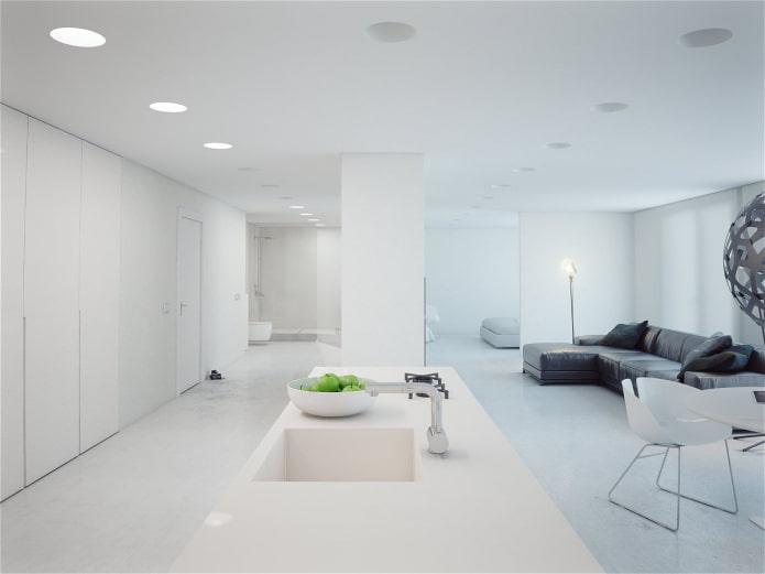 Дизайн белой квартиры-студии в стиле минимализм