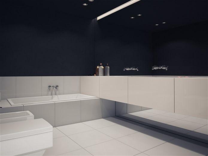 ванная комната в черно-белой квартире