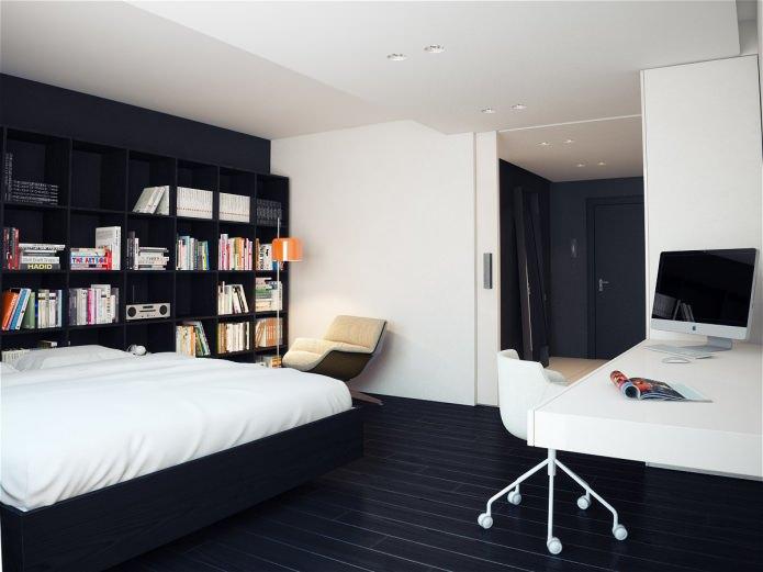спальня в черно-белой квартире