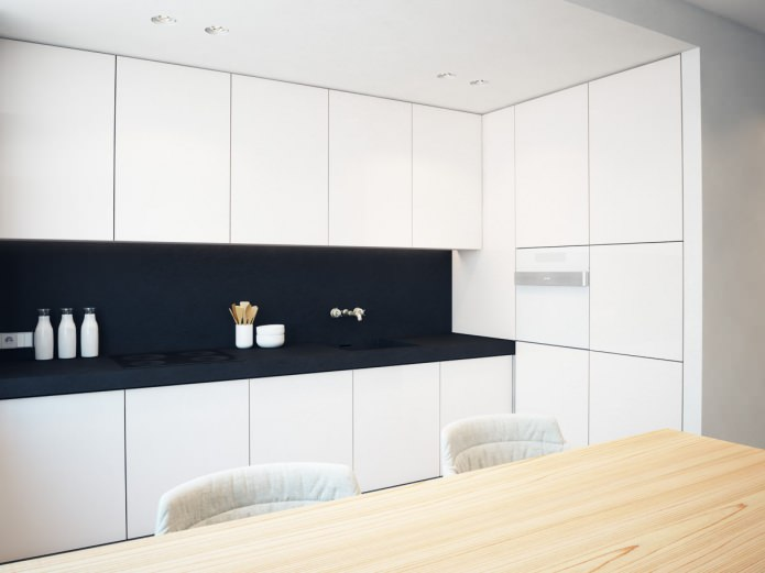кухня в интерьере черно-белой квартиры