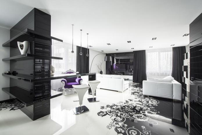 черно-белый интерьер комнаты с добавлением фиолетового цвета