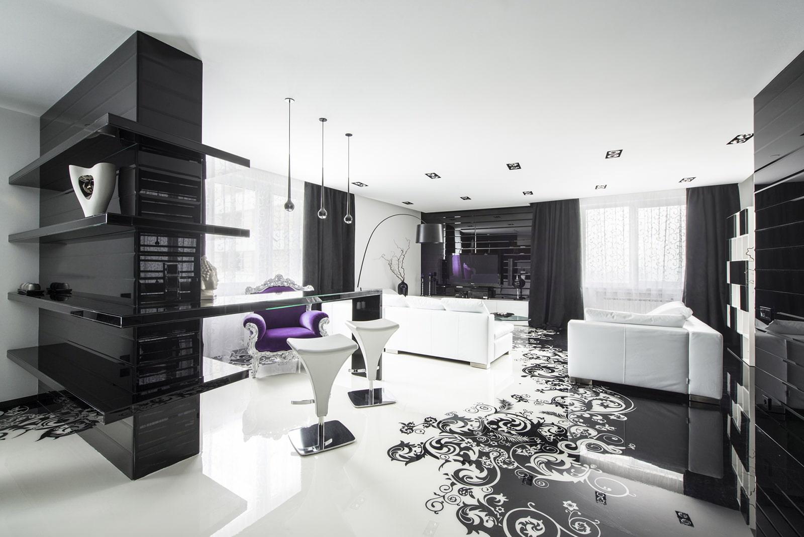 Дизайн квартиры.черно-белый