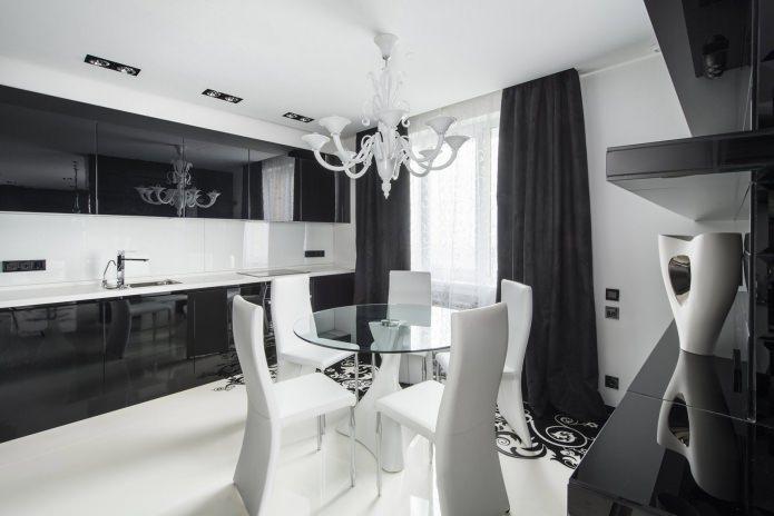 белая люстра в интерьере в стиле арт-деко