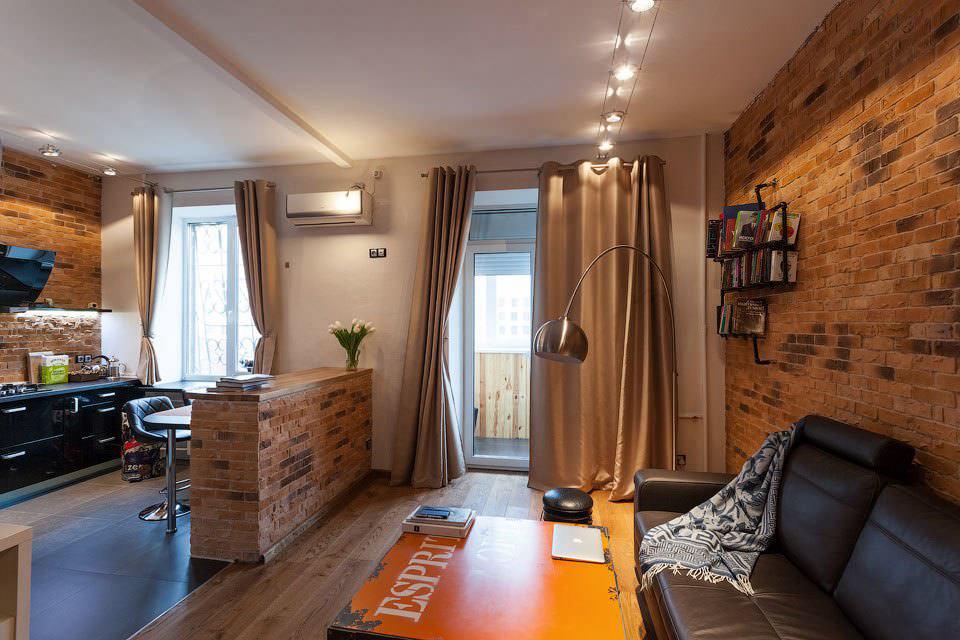 дизайн совмещенной кухни гостиной с барной стойкой