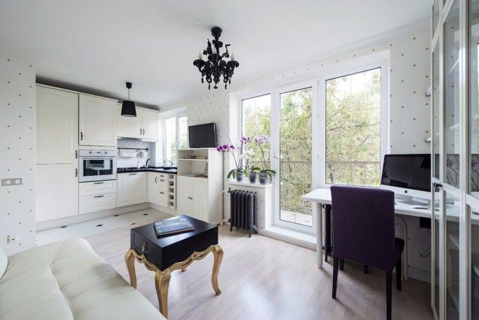 ламинат в интерьере кухни-гостиной