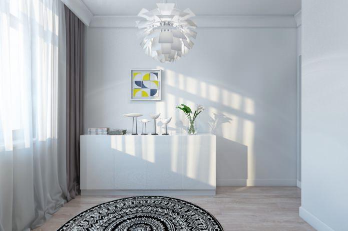 белый комод в современной красивой квартире